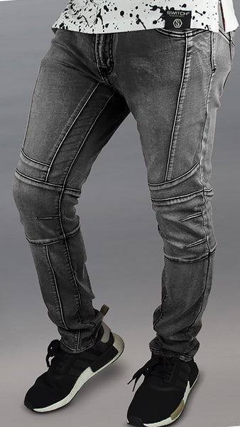 Stretch Bleach Biker Detail skinny fit Jeans premium biker ZIPPER