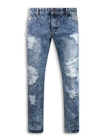 Distressed Biker ripped slim fit Jeans repair1