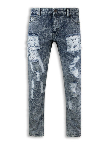 Distressed Biker ripped slim fit Jeans repair 3