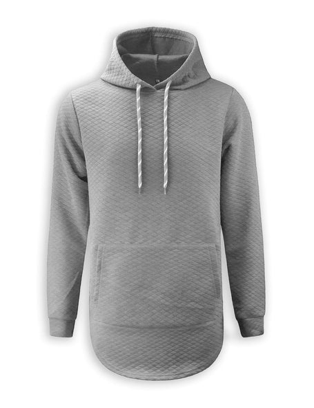 quilted hooded Elongated Basic Drop Tail Long Sleeve Zipper On The Side