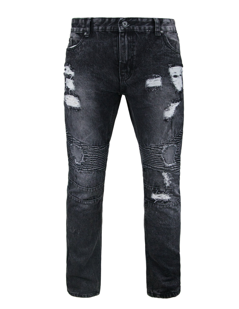Slim Fit Destroyed Motto Inspired Denim