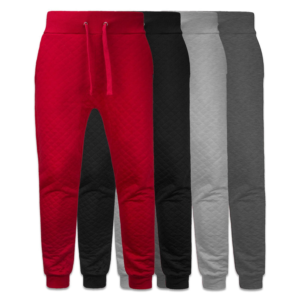 Mens Drawstring Fleece Quilted Joggers