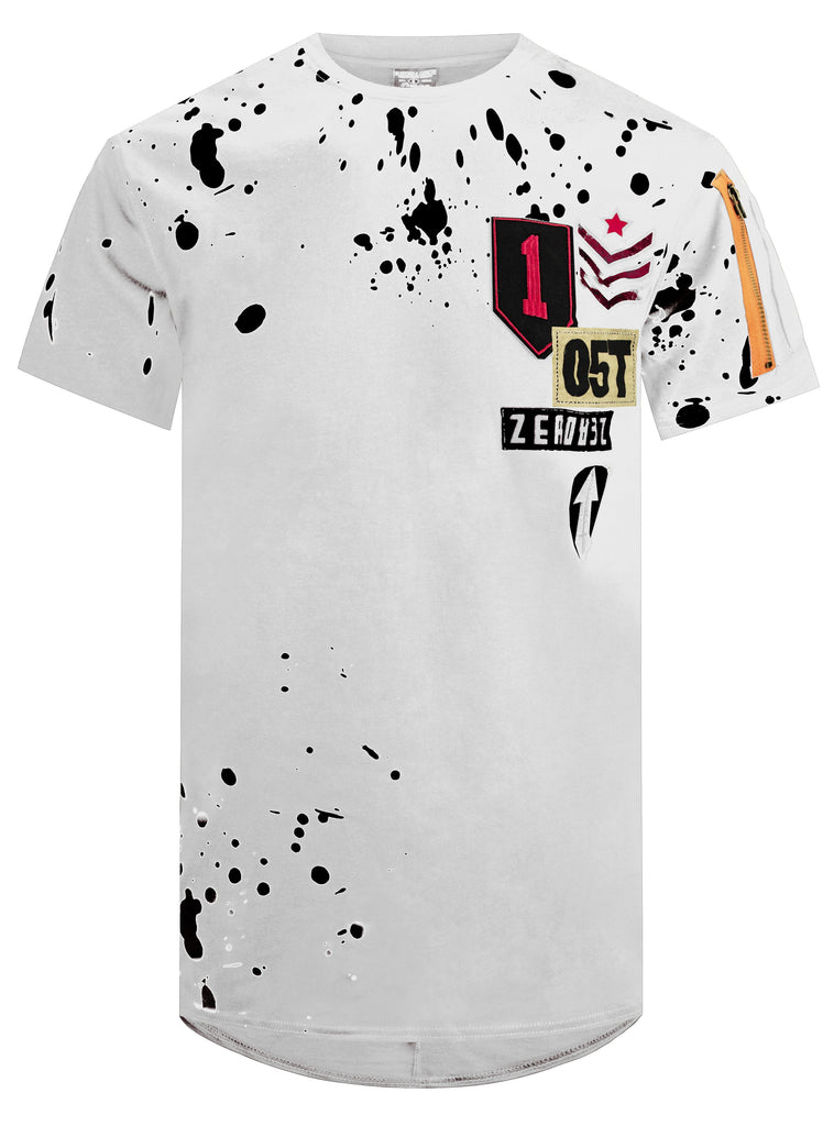Men's Splatter Print & Patched Tee Military Style Patch Neck Elongated Longline