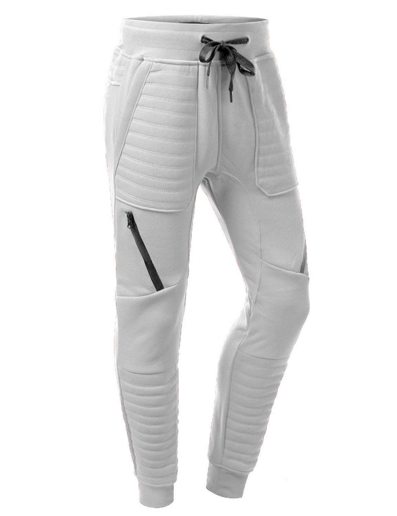 Mens Fleece Biker Zipper joggers