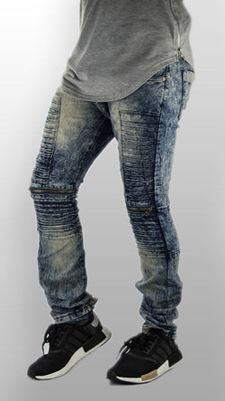 MENS JEANS biker zipper distressed ripped