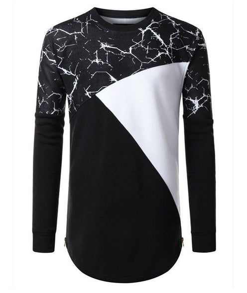 Block Crew neck Fleece With Side Metal Zipper Longline CREWNECK