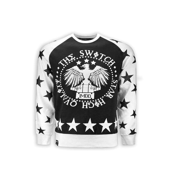 stars Crew neck Fleece With Side Elongated Longline CREWNECK
