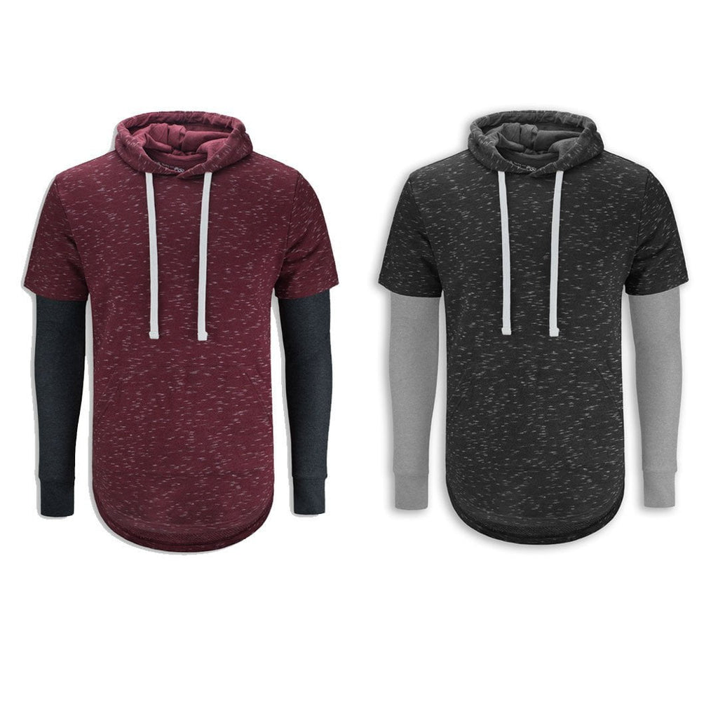 Elongated Hooded T-Shirt Streetwear thermal Varsity SS Hoodie thermal sleeves