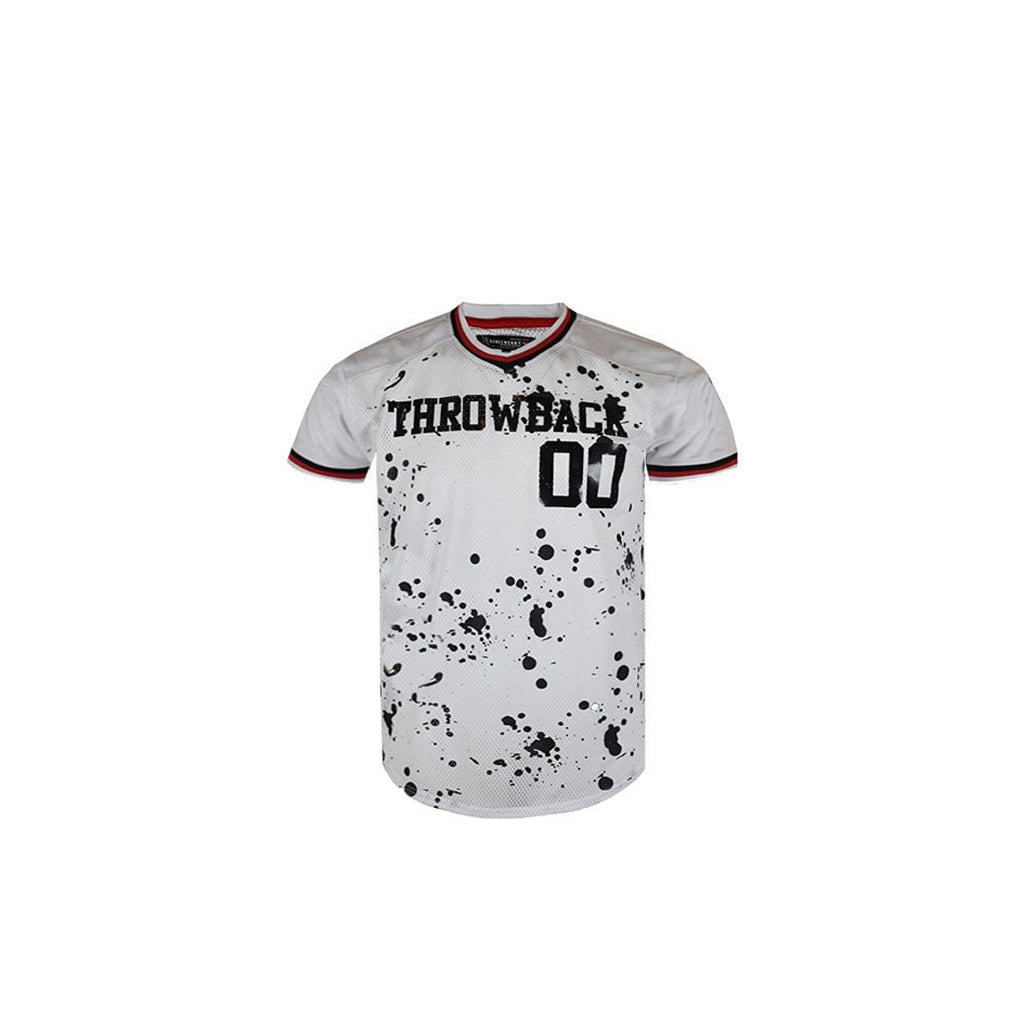 Men's Football Jersey Throwback Splatter Print Tee W/ Side Zipeer Mesh T-Shirts