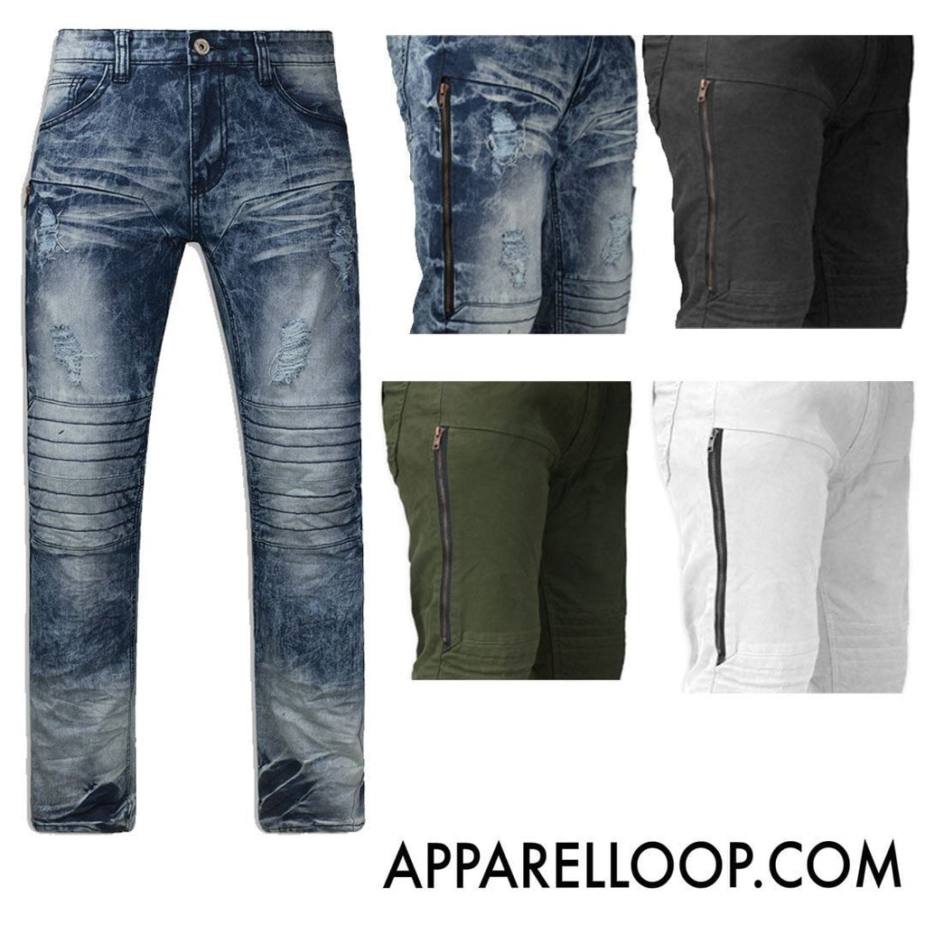 Distressed Stretch Biker ripped SLIM fit premium Jeans zipper on the side