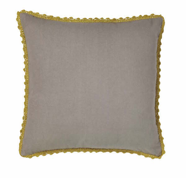 Pom Pom Pillow | Grey + Citron