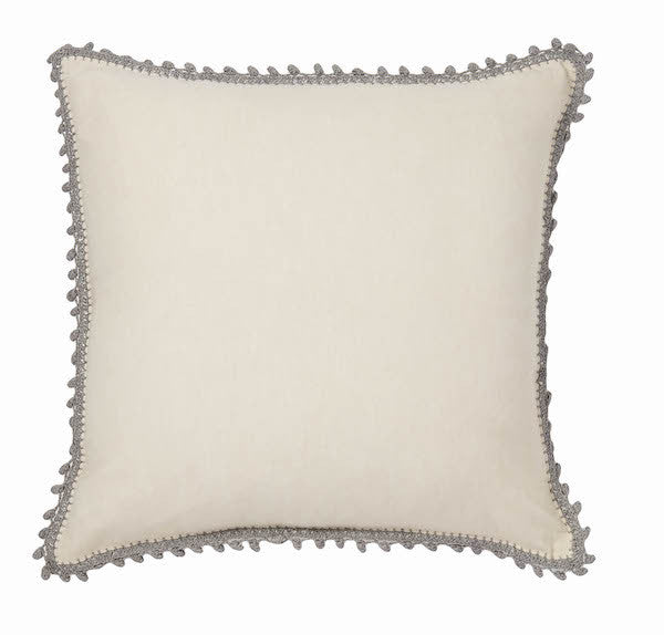 Pom Pom Pillow | Cream + Grey