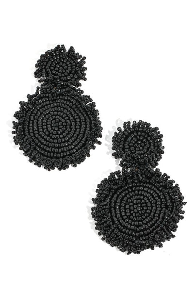 Double Circle Lightweight Beaded Earrings (Available in Red, Gold and Black)