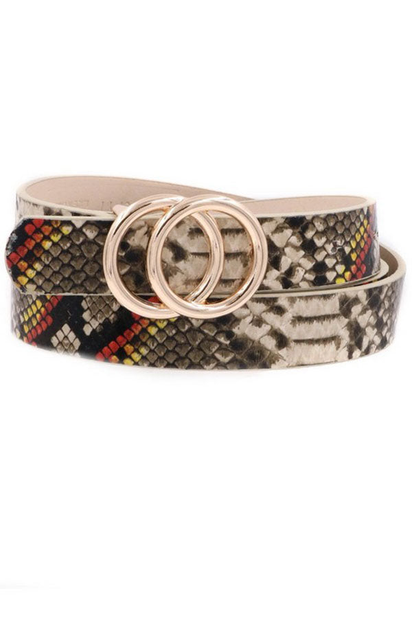 Faux Leather Snake Printed Belt
