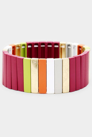 Back To School Wide Colorblock Stretch Bracelet