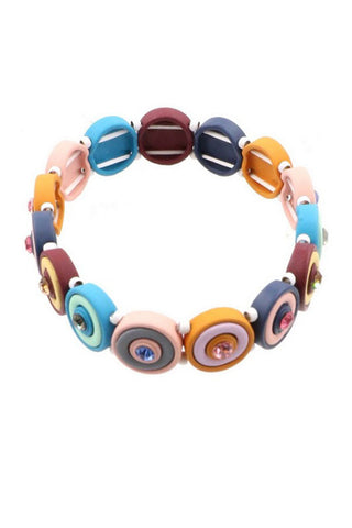 Painted Metal Disc Bracelet