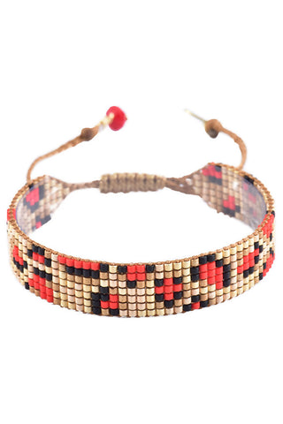 Mishky Red Panthera Handmade Glass Beaded Bracelet