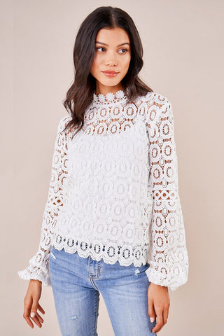Sugarlips Crochet Mockneck Top