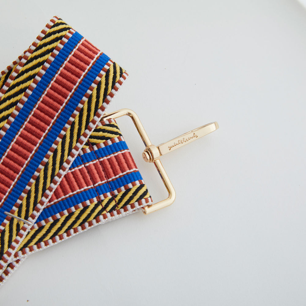 Yellow/Cobalt/Orange Diagonal Stripe Embroidered Bag Strap