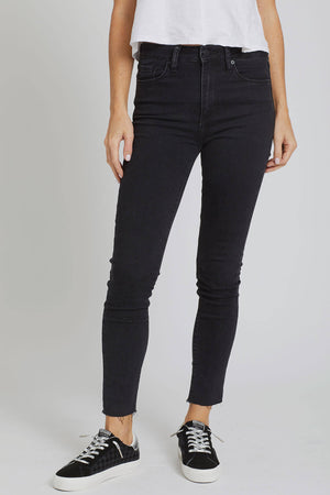 Just Black Raw Hem High Rise Washed Black Skinny Jeans