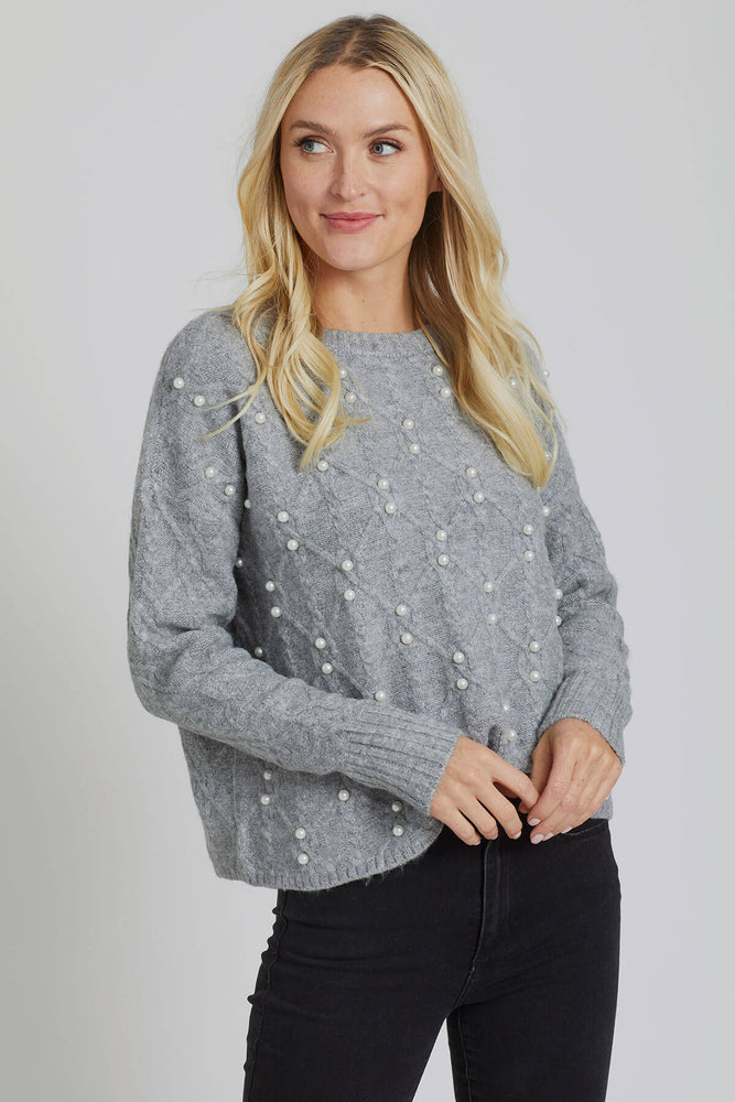 RD Style Cableknit Pearl Detail Crewneck Sweater