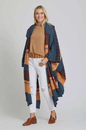 Leto Hooded Plaid Multi Ruana Wrap