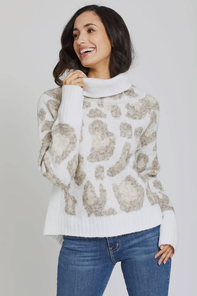 Load image into Gallery viewer, RD Style Cowlneck Animal Print Sweater