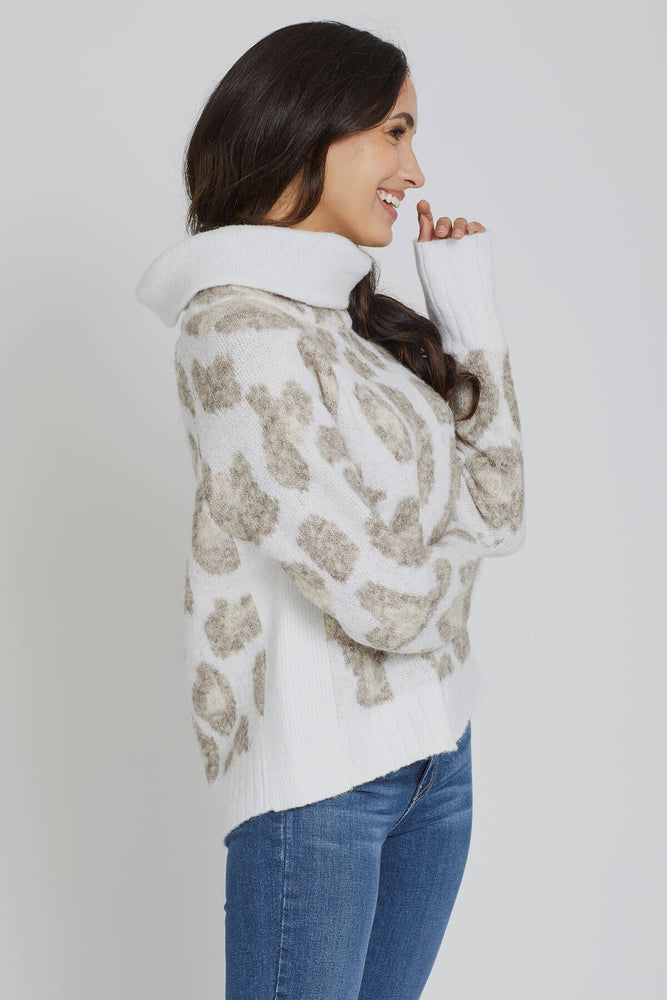 RD Style Cowlneck Animal Print Sweater