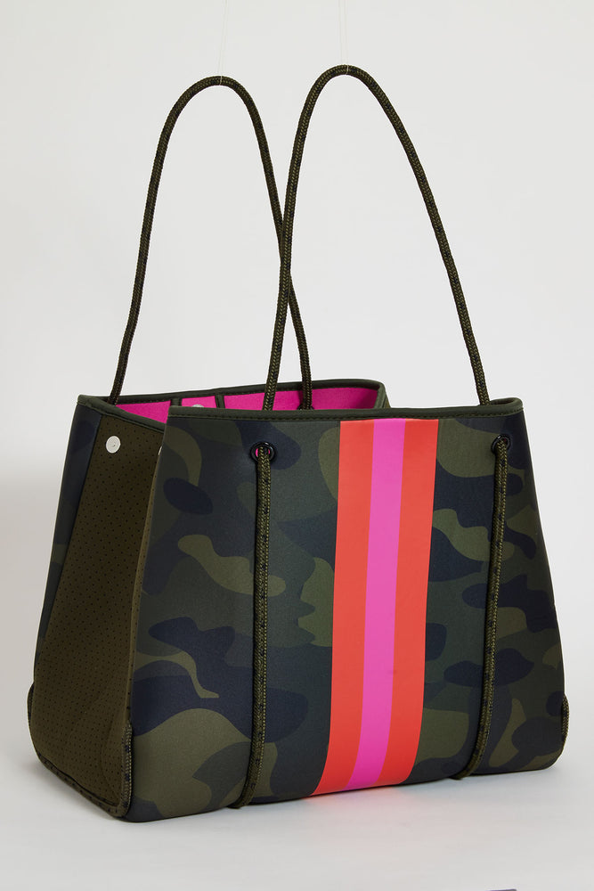 Hello Happiness Camo Striped Neoprene Tote
