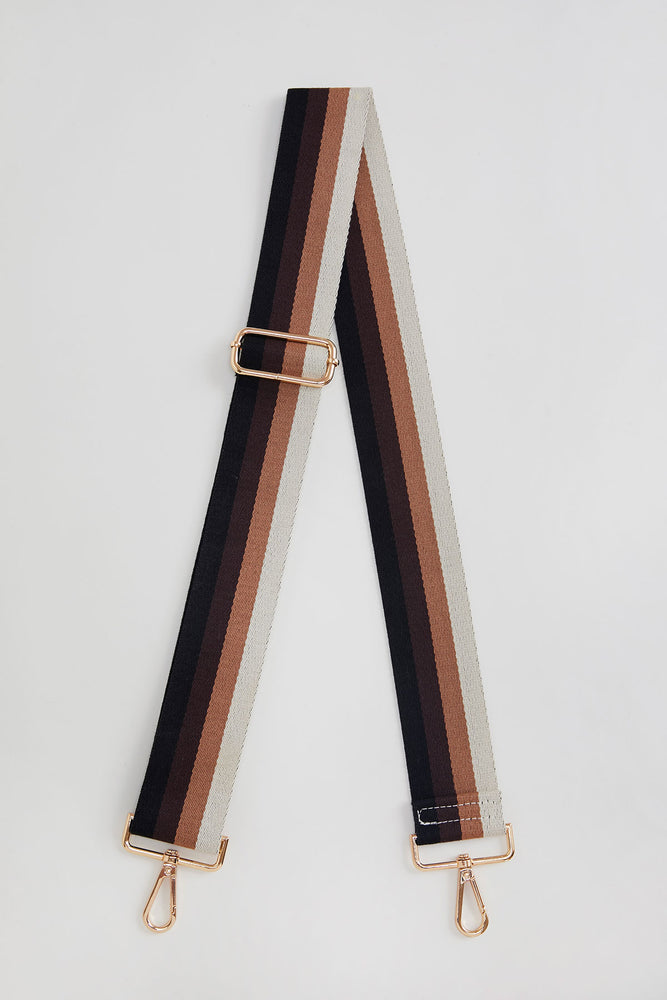 Black/Coffee/Camel/Ivory Stripe Bag Strap