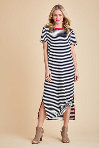 984d2fe3064 All Row Black White Stripe Dress with Contrasting Red Trim