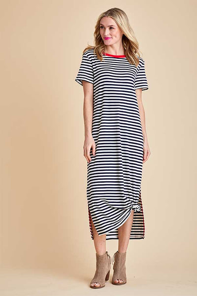 All Row Black/White Stripe Dress with Contrasting Red Trim