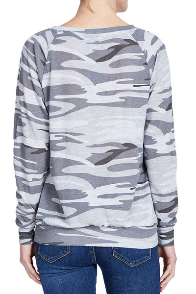 Alternative Apparel Slouchy Camo Pullover Long Sleeve Tee