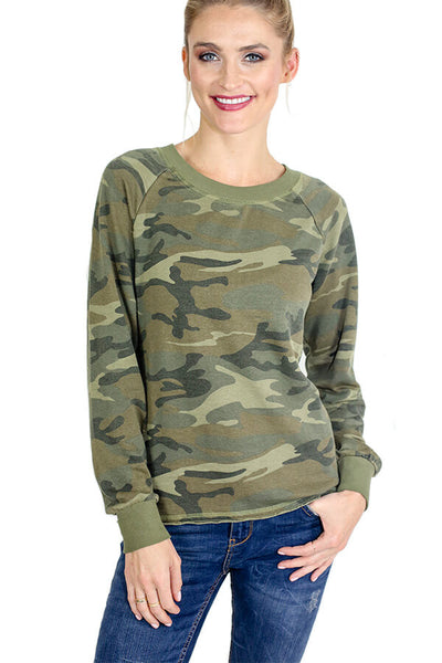 Alternative Apparel Camo Pullover Lightweight Sweatshirt