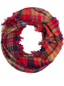 Social Threads Autumnal Plaid Infinity Scarf