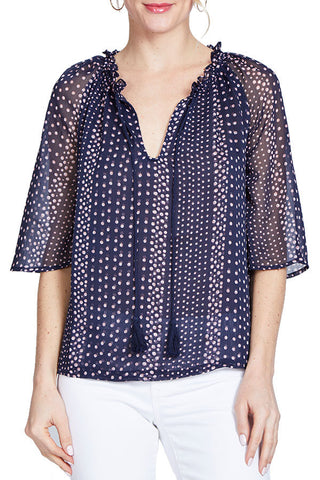BB Dakota Printed Crinkle Chiffon Top