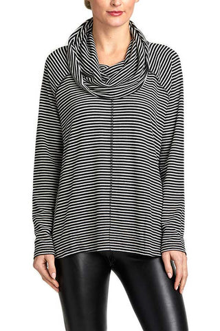 Jack By BB Dakota Stripe A Cowlneck Top