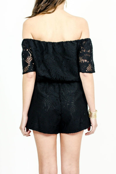 BB Dakota Off The Shoulder Lace Romper