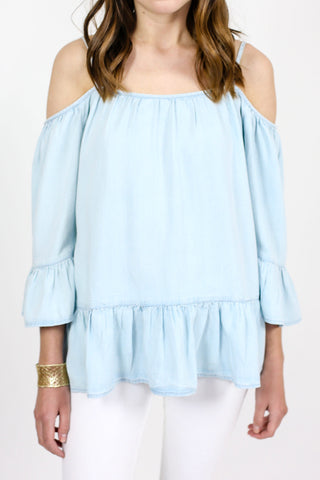 Beach Lunch Lounge Cold Shoulder Chambray Top