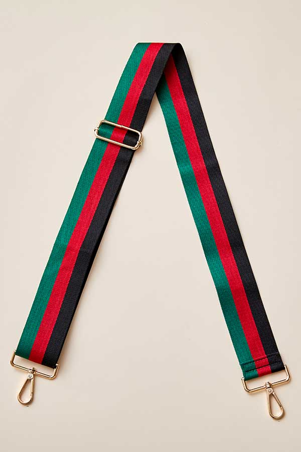 Red/Green/Black Stripe Bag Strap