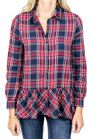 Beach Lunch Lounge Red Plaid Ruffle Hem Shirt