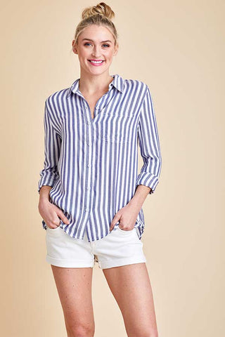 Beach Lunch Lounge Stripe Button Down