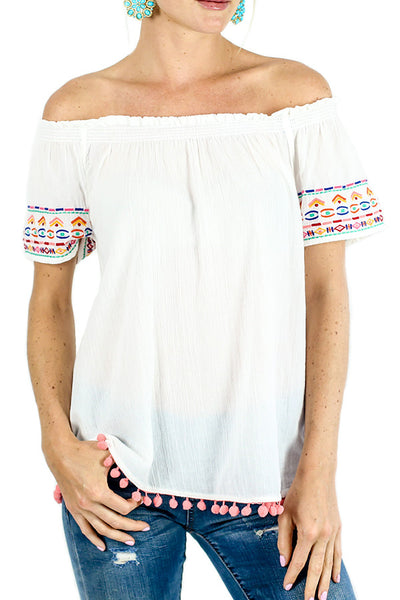 Beach Lounge Off Shoulder Embroidered Pom Pom Top