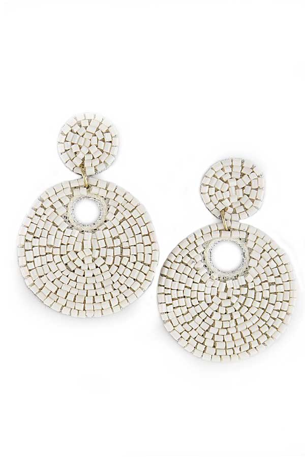 Beaded Double Circle Earrings Ivory