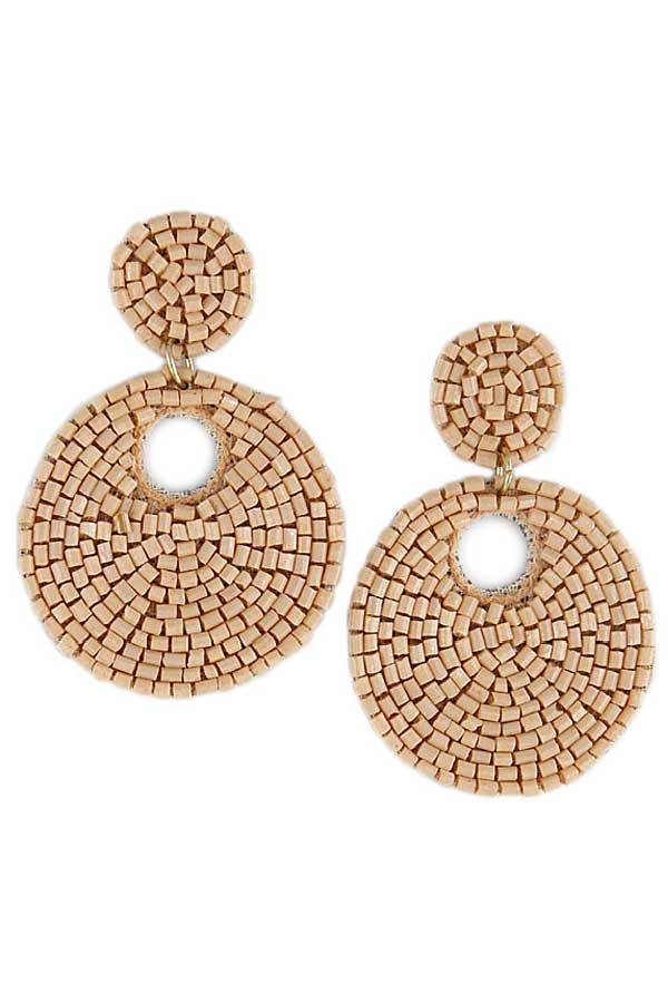 Beaded Double Circle Earrings Natural