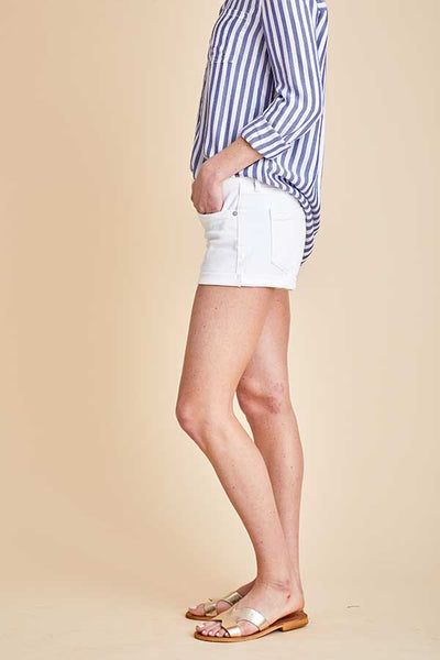 Blank NYC Showtime White Cut Off Shorts