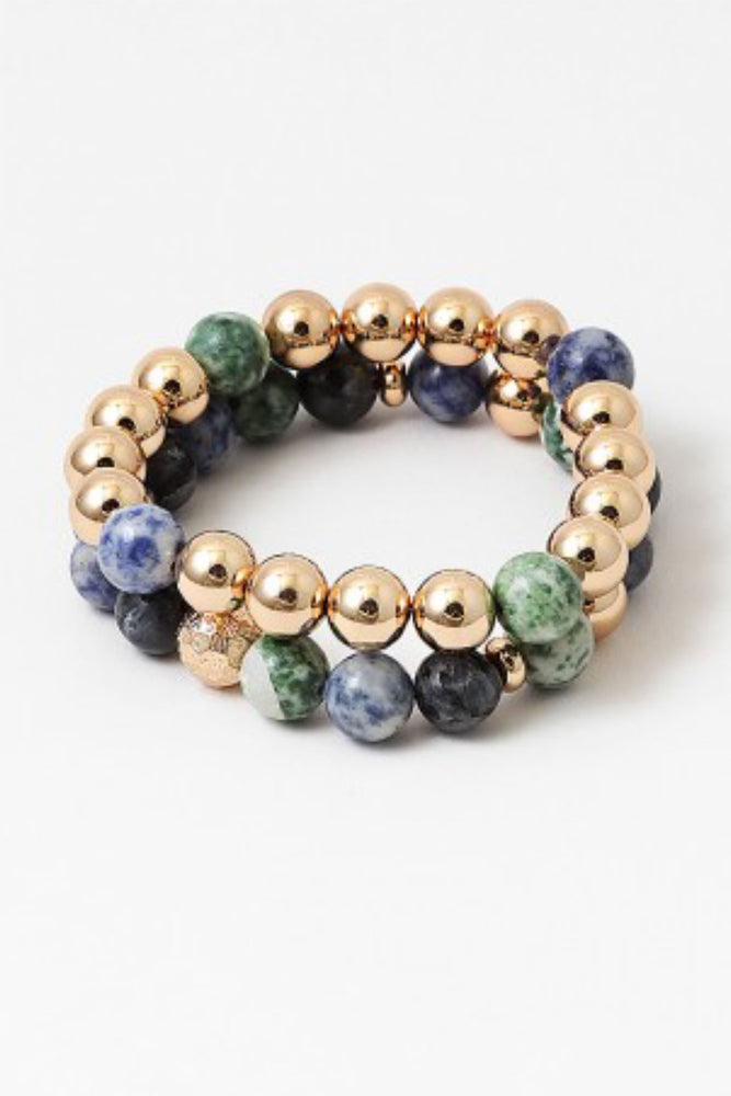 Load image into Gallery viewer, Gold Ball Lapis Bracelet Set