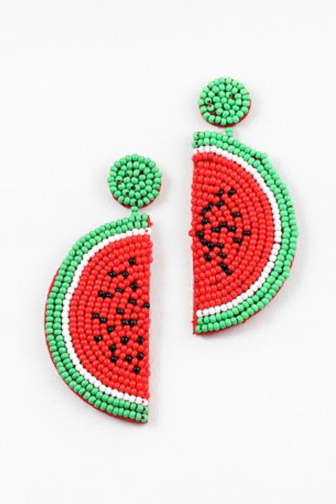 Load image into Gallery viewer, Blue Sky Watermelon Beaded Earrings