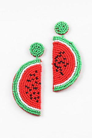 Blue Sky Watermelon Beaded Earrings