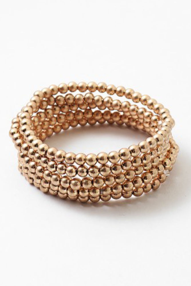 Load image into Gallery viewer, Gold Ball Multi Set Stretch Bracelet
